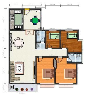 4房2厅平面图