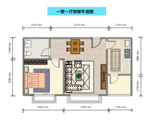 一室一厅房屋平面图