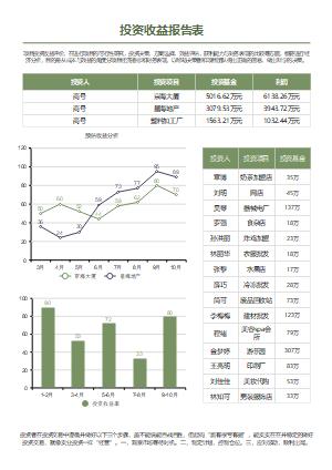 投资收益报告表