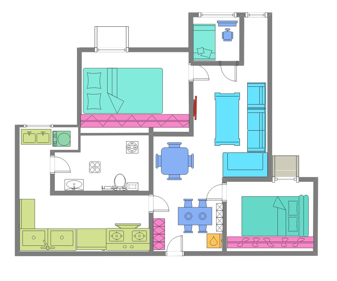 彩色家居布局平面图