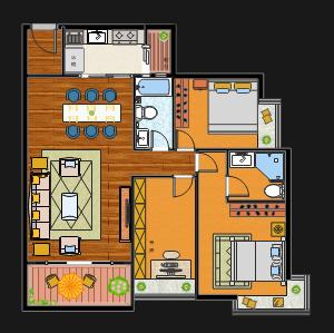 三室一厅平面图