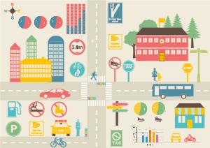 交通信息插画