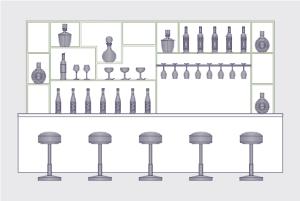 酒吧柜台立面图