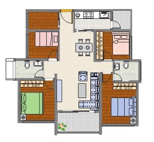 三房两厅装修平面图